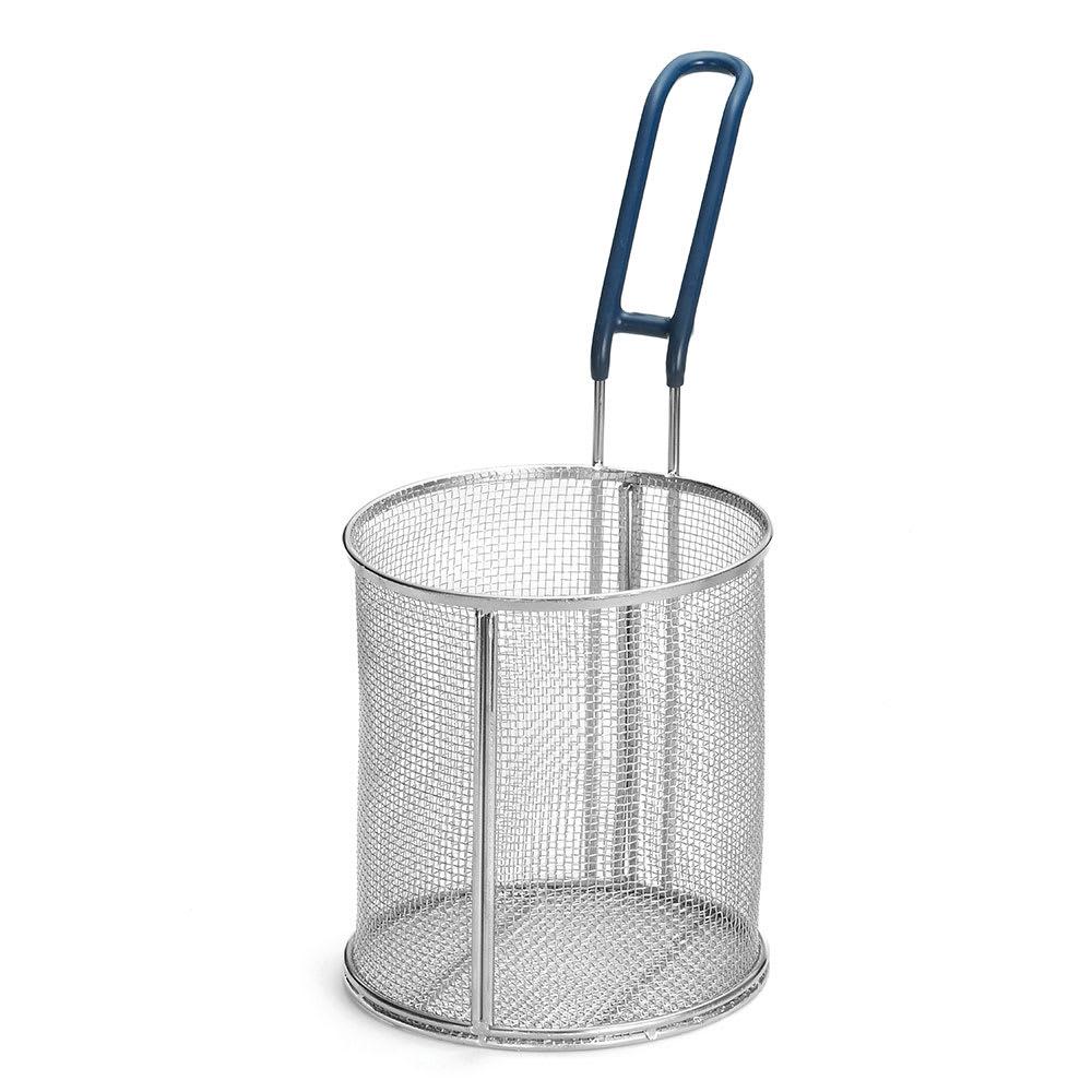 """Tablecraft 986 Stainless Steel Pasta Basket, 6-1/2 x 7"""" Round, Blue Handle"""