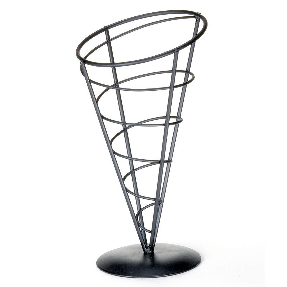 Tablecraft AC59 Vertigo Collection Appetizer Cone, 5 x 9 in, Black Powder Coated Metal