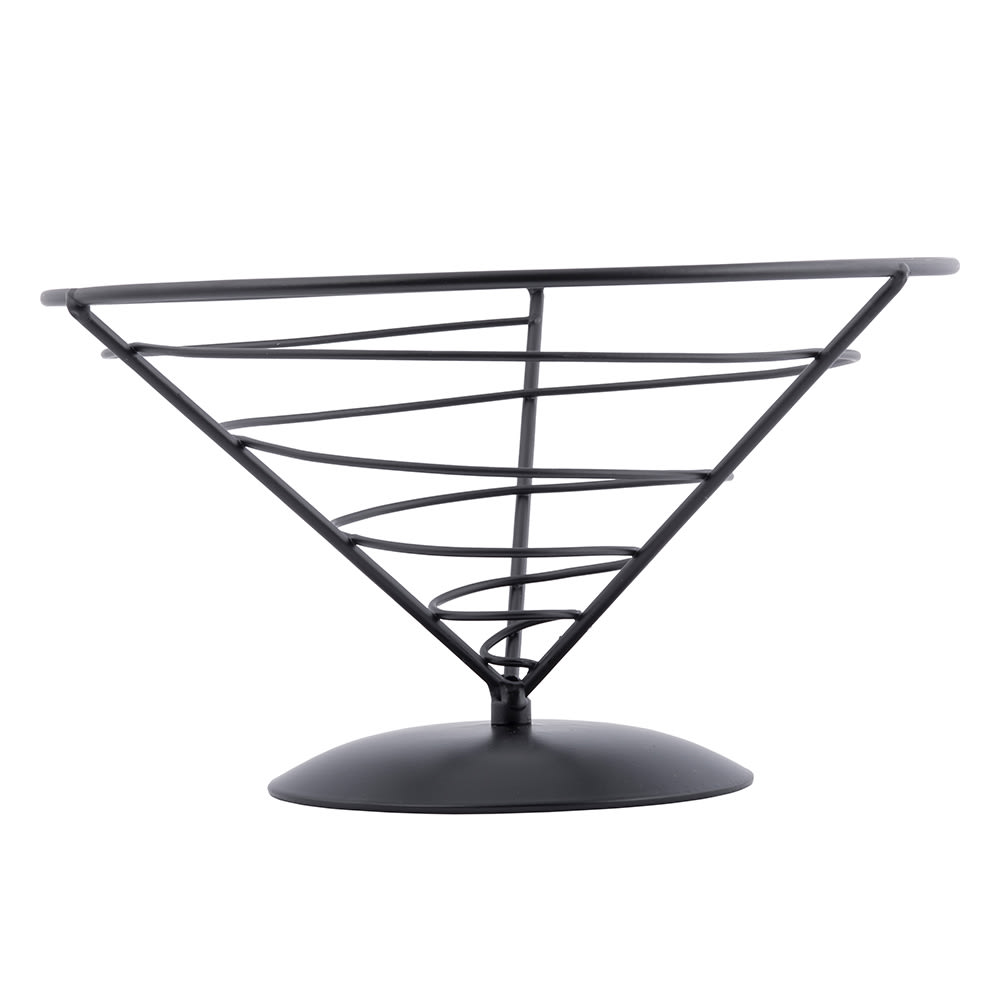 Tablecraft AC95 Vertigo Collection Appetizer Cone, 9 x 5 in, Black Powder Coated Metal
