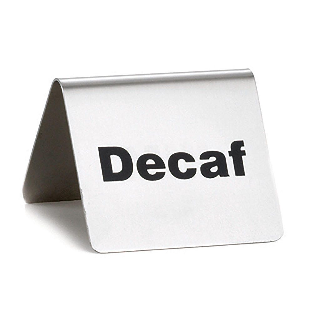 """Tablecraft B2 """"Decaf"""" Table Tent Sign - 2"""" x 2.5"""", Stainless"""