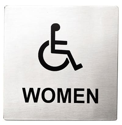 """Tablecraft B21 Stainless Steel Sign, 5 x 5"""" Women/Accessible"""