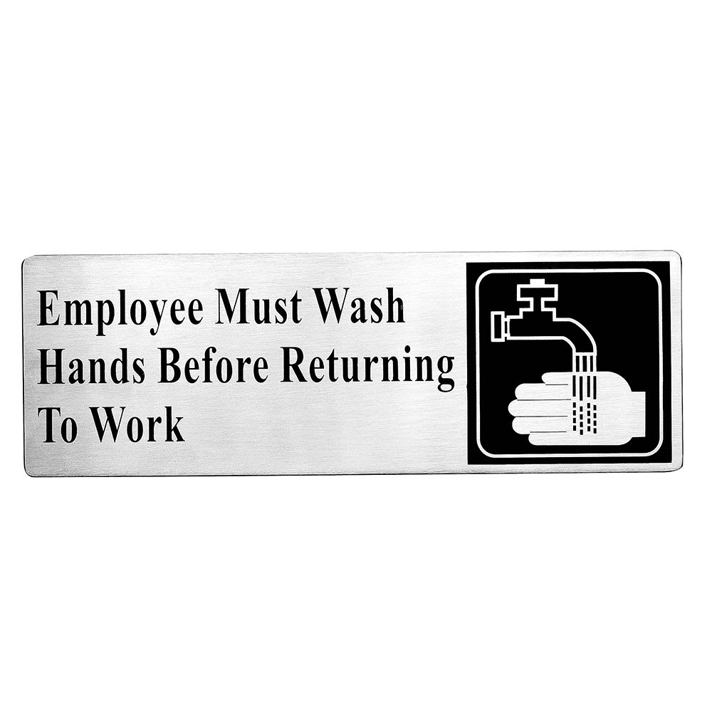 "Tablecraft B22 Employees Must Wash Hands Before Returning To Work Sign - 3"" x 9"""