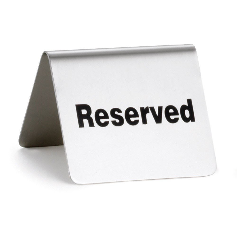 "Tablecraft B9 ""Reserved"" Table Tent Sign - 2"" x 2.5"", Stainless"