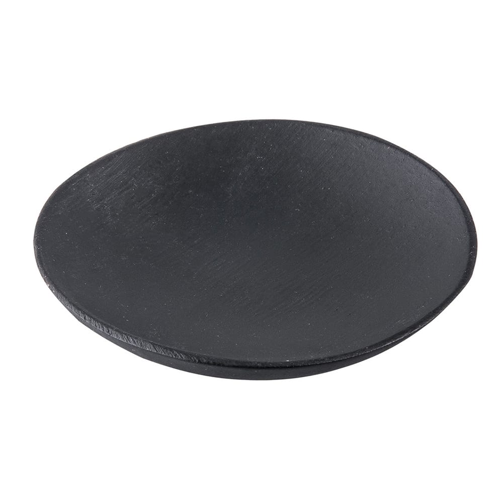 "Tablecraft BAMDRBK2 2.5"" Round Disposable Plate - Bamboo, Black"