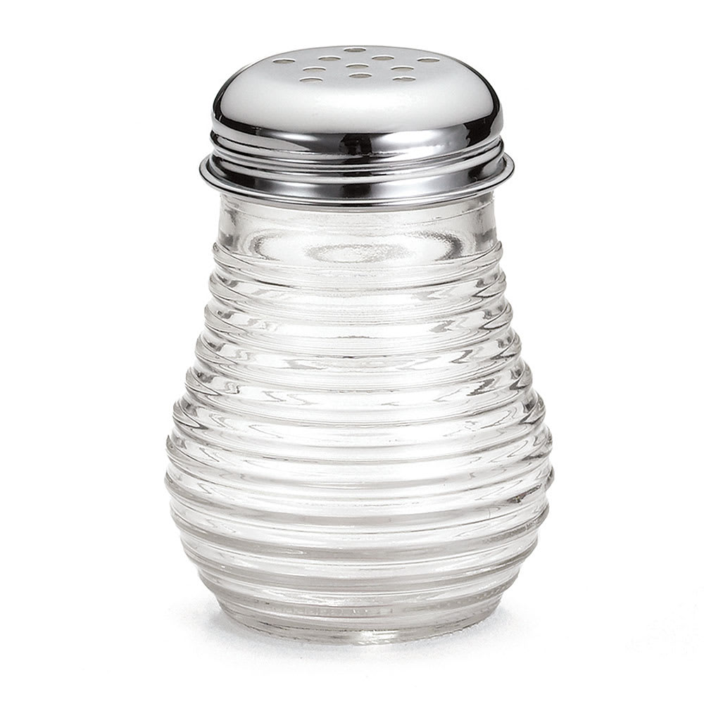 Tablecraft BH4 6 oz Glass Cheese Pepper Shaker w/ Chrome Plated Top