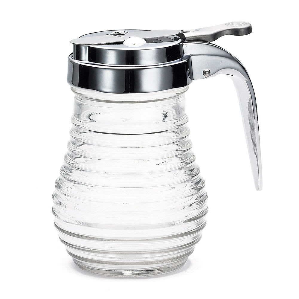 Tablecraft BH7 6-oz Glass Syrup Dispenser w/ Chrome Plated Top