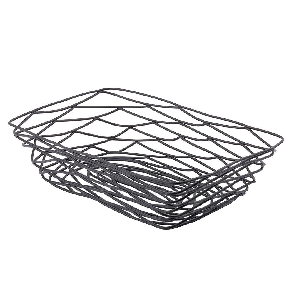 "Tablecraft BK17209 Artisan Collection Basket, 9"" X 6"" X 2.5 in, Rectangular, Black"