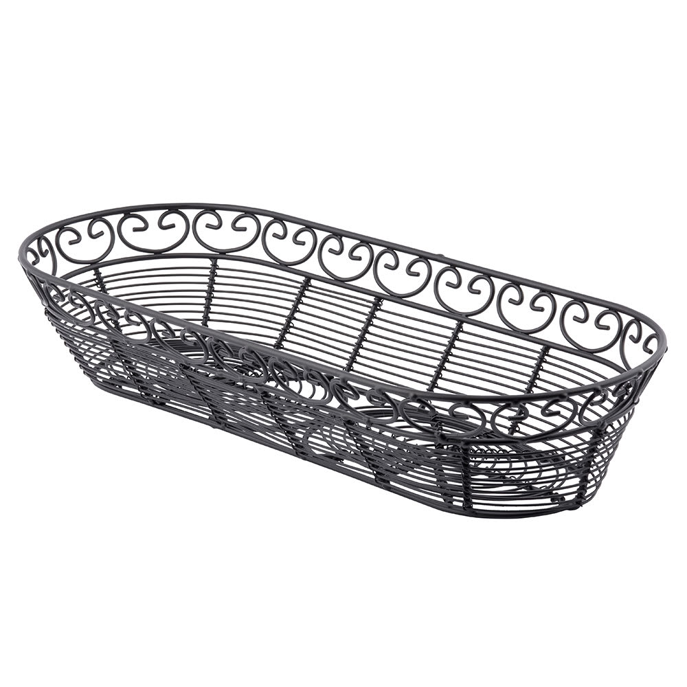 """Tablecraft BK21815 Oblong Mediterranean Collection Basket, 15 x 6.25 x 3"""", Black"""