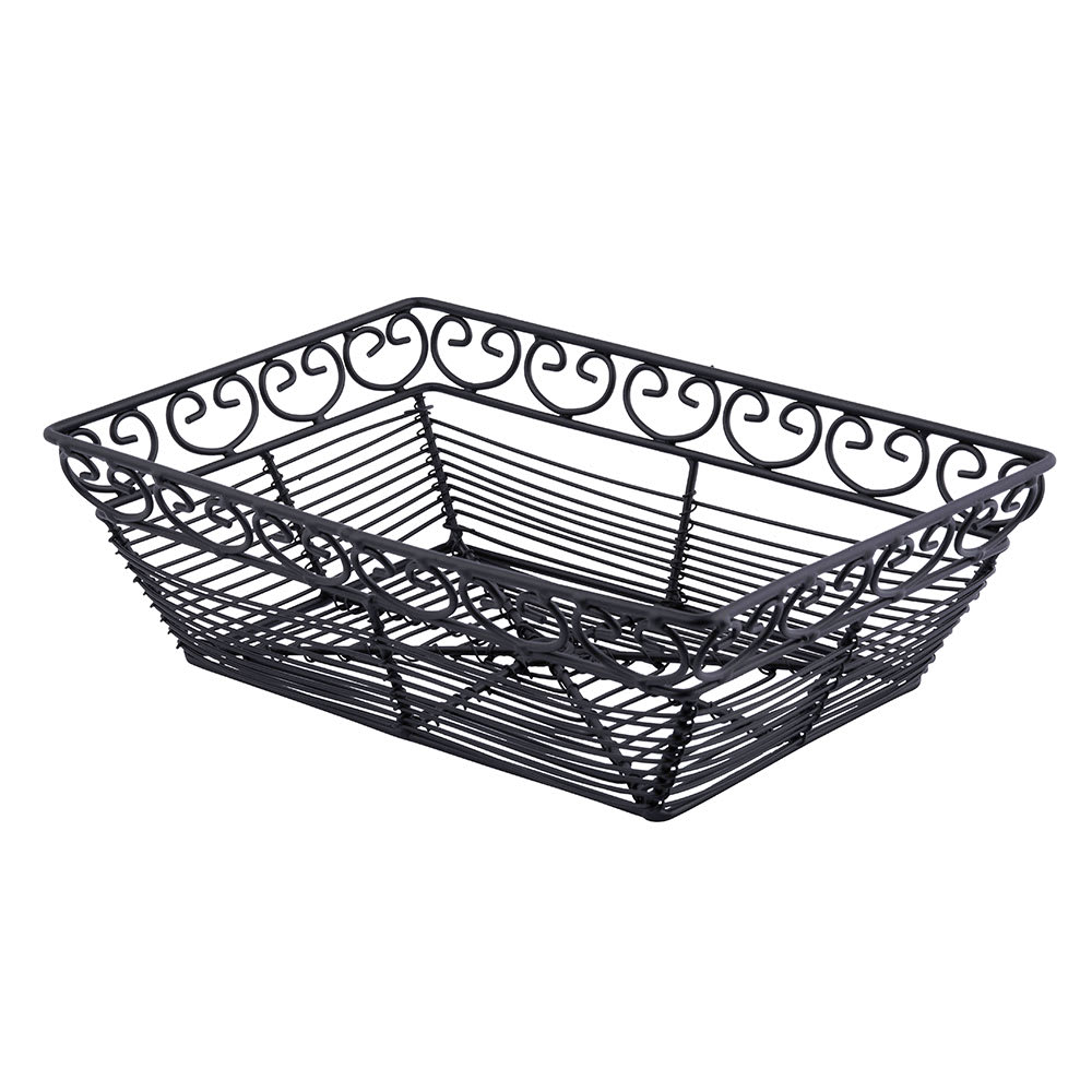 "Tablecraft BK27209 Rectangular Mediterranean Collection Basket, 9 L x 6 W x 2.5""H, Black Metal"