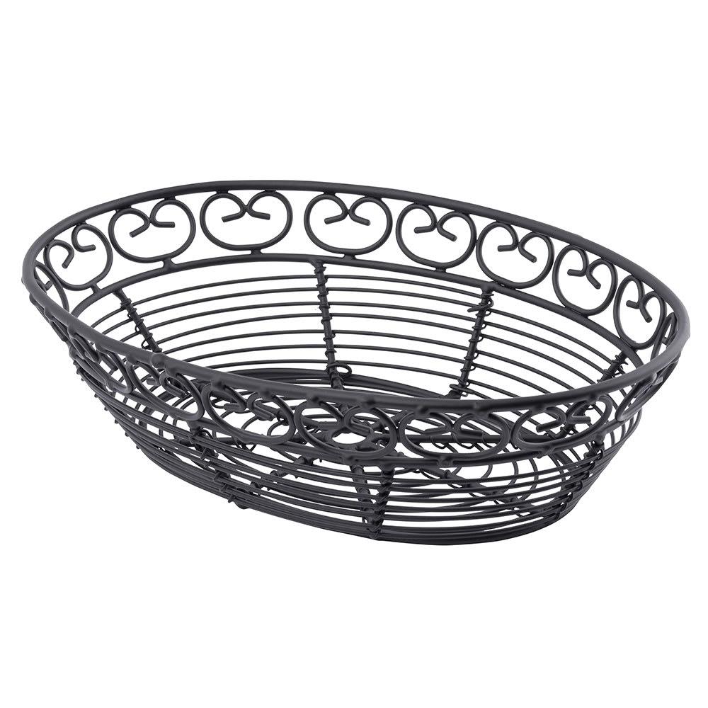 """Tablecraft BK27409 Oval Mediterranean Collection Basket, 9 L x 6.25 W x 2.25""""H, Black Metal"""