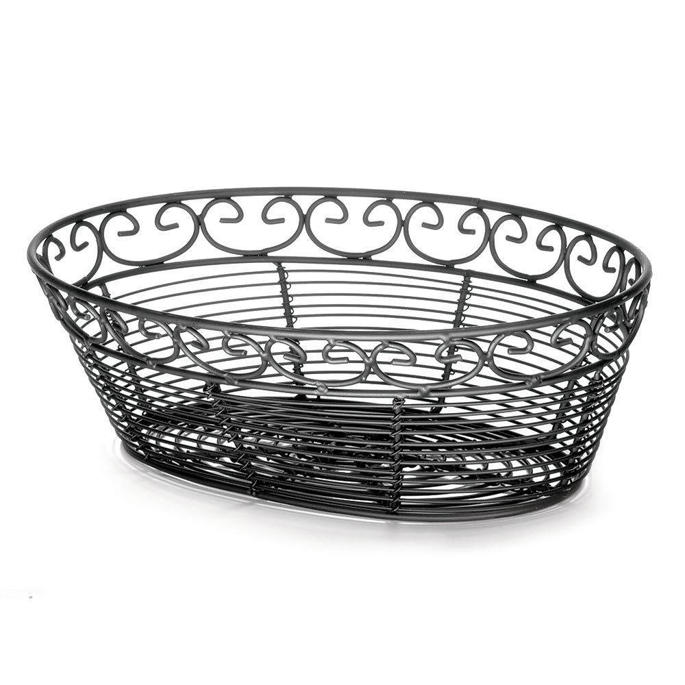 "Tablecraft BK27410 Oval Mediterranean Collection Basket, 10 L x 6.5 W x 3""H, Black Metal"