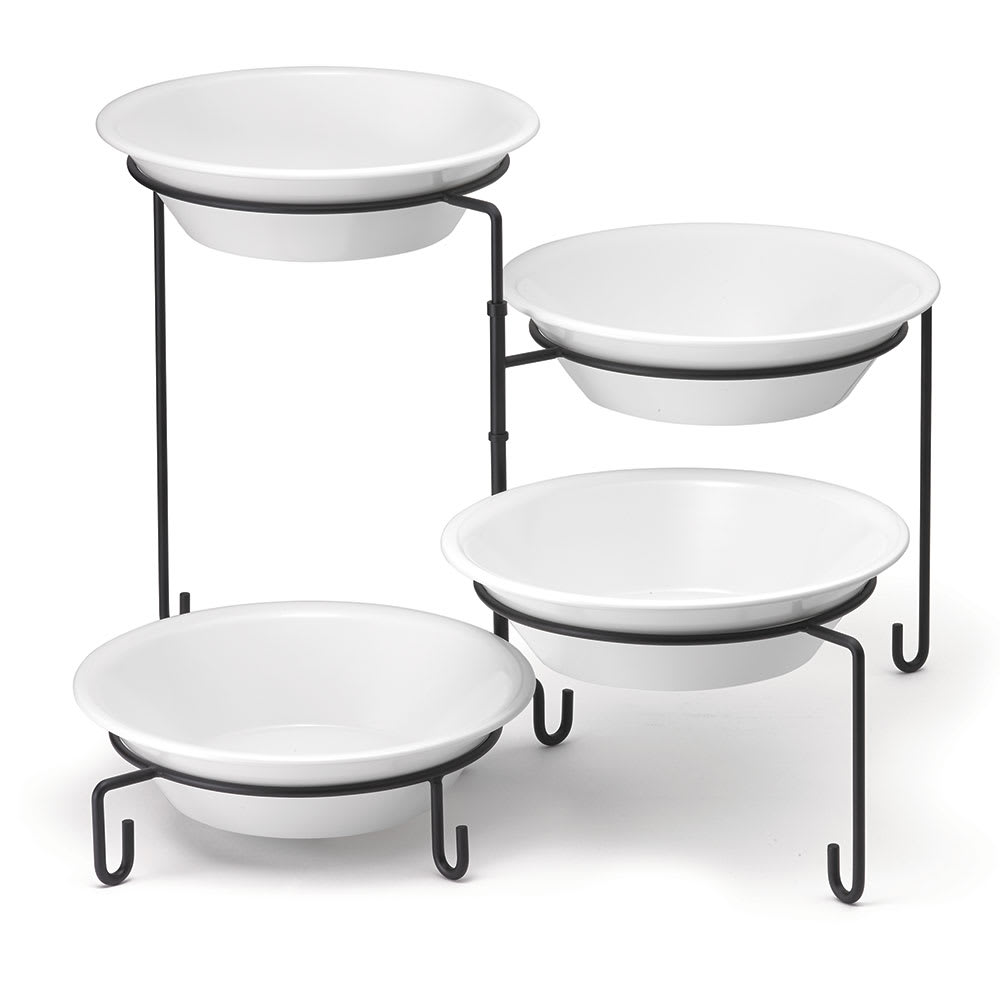 """Tablecraft BKP4 Four-Tiered Stand, 9 Dia x 14.5""""H, Metal, Black"""