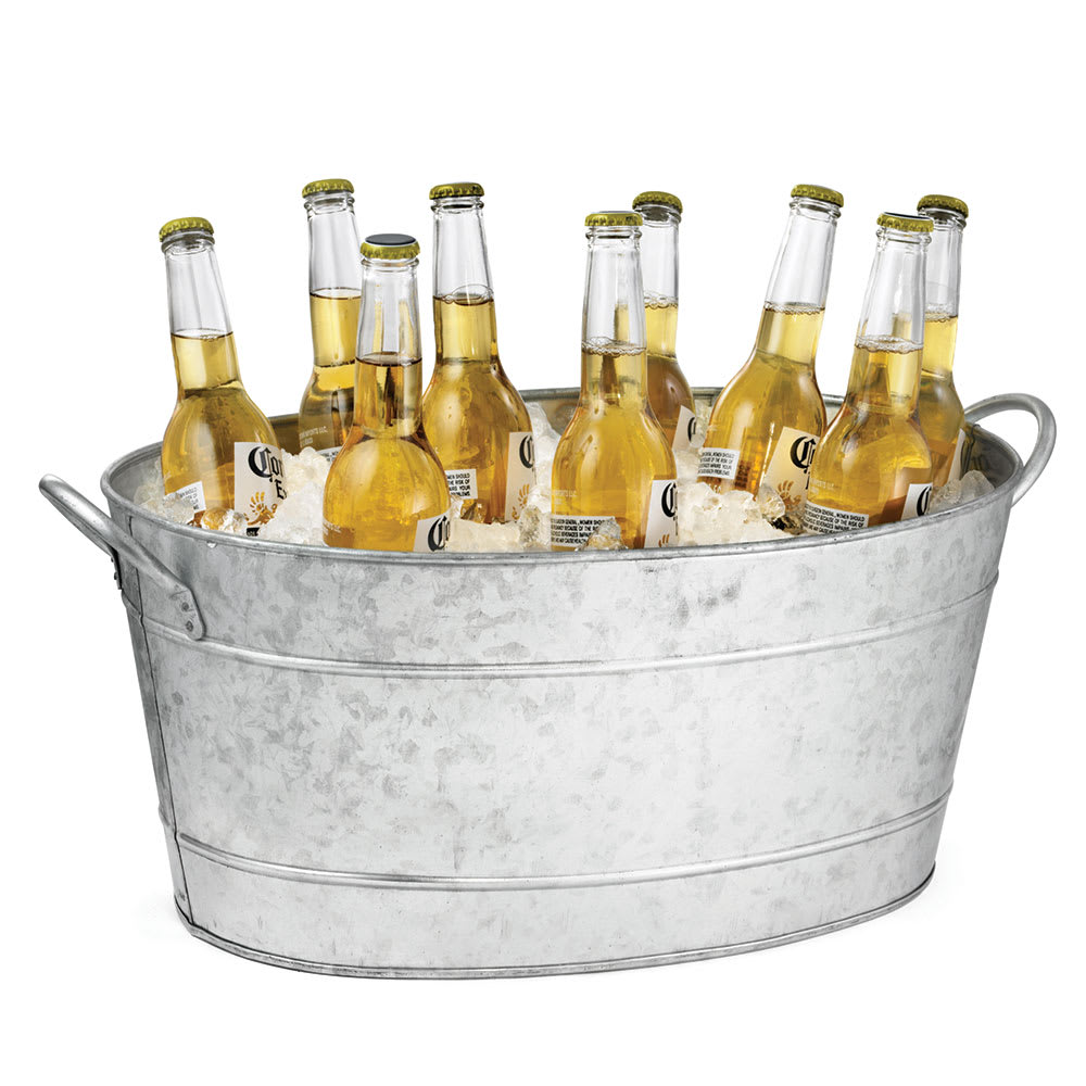"Tablecraft BT1914 Oval Beverage Tub, Double Wall, 19 L x 14 W x 9""H,  Galvanized Aluminum"
