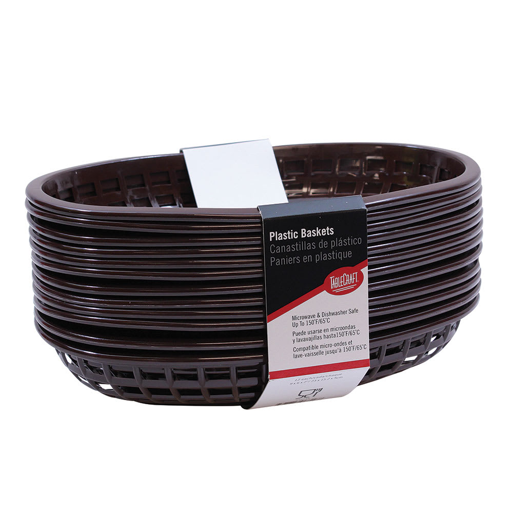 """Tablecraft C1074BR Cash And Carry Classic Baskets, 9-3/8 x 6 x 1-7/8"""", Oval, Plastic, Brown"""