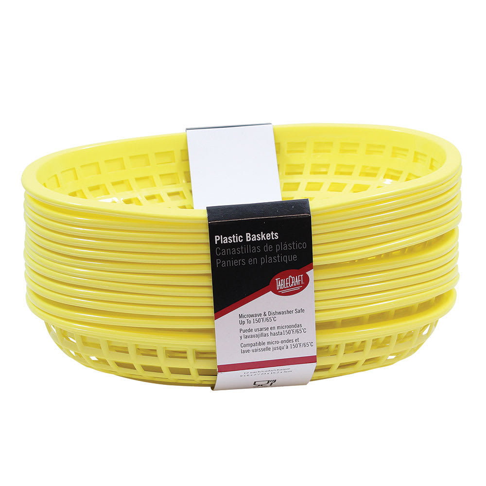 """Tablecraft C1074Y Cash And Carry Classic Baskets, 9-3/8 x 6 x 1-7/8"""", Oval, Plastic, Yellow"""