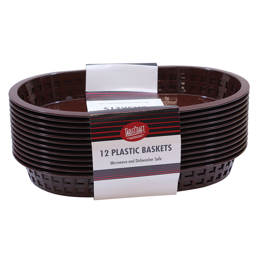 """Tablecraft C1076BR Cash And Carry Chicago Baskets, 10.5 x 7 x 1.5"""", Oval, Plastic, Brown"""