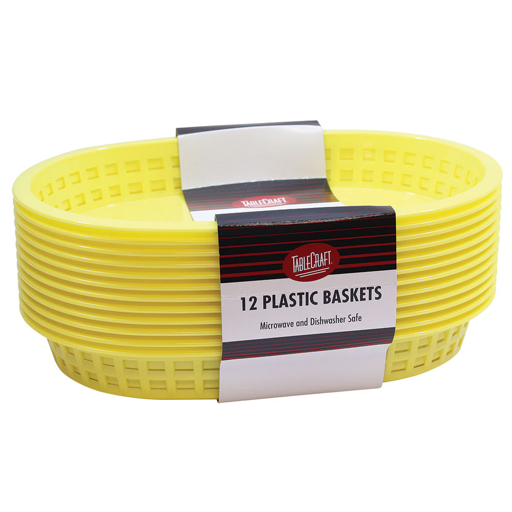 "Tablecraft C1076Y Cash And Carry Chicago Baskets, 10.5 x 7 x 1.5"", Oval, Plastic, Yellow"