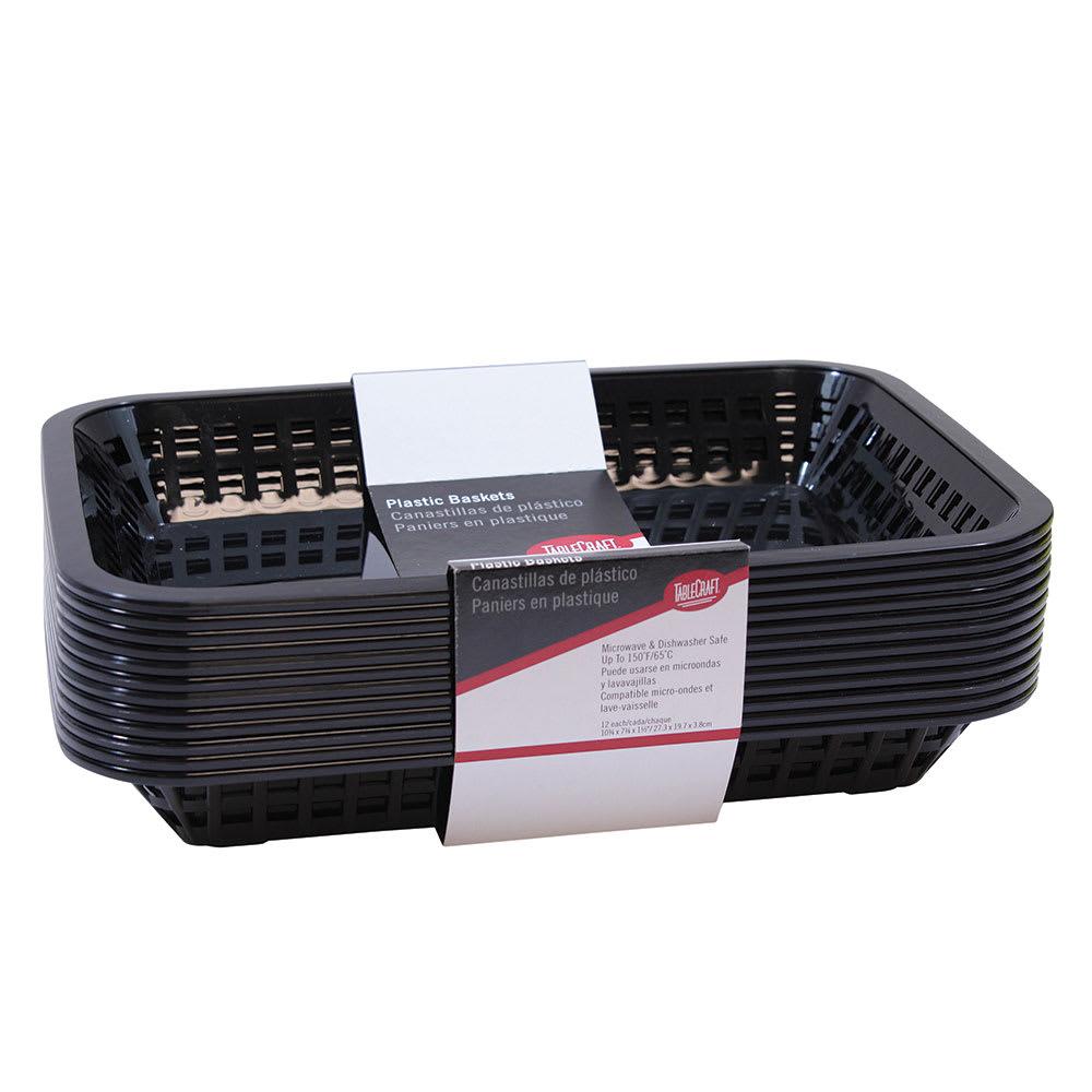 "Tablecraft C1077BK Cash And Carry Grande Baskets, 10.75 x 7.75 x 1.5"", Rectangular, Black"