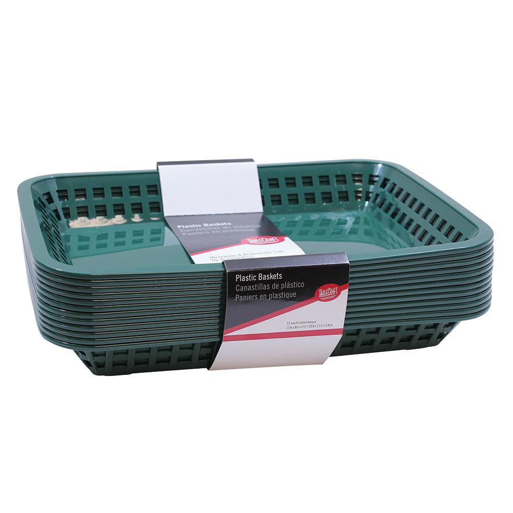 "Tablecraft C1077FG Cash And Carry Grande Baskets, 10.75 x 7.75 x 1.5"", Rectangular, Forest Green"