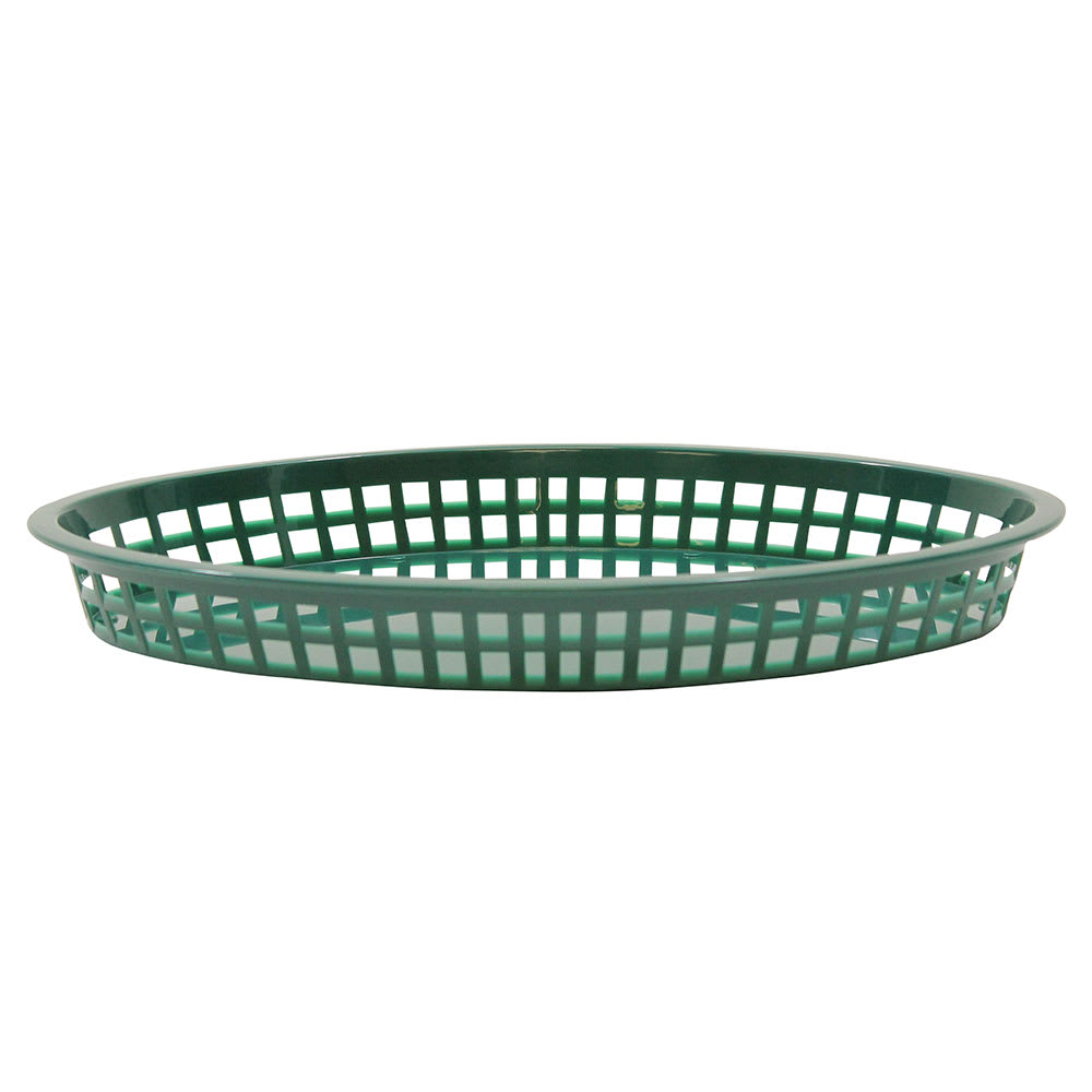 "Tablecraft C1086FG Cash And Carry Texas Baskets, 12.75"" x 9.5"" x 1.5"", Oval, Forest Green"