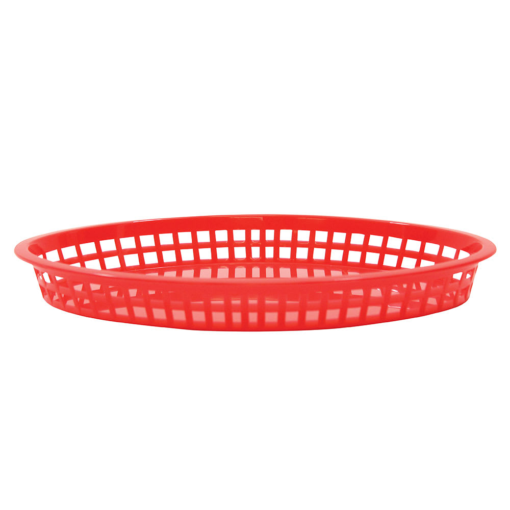 "Tablecraft C1086R Cash And Carry Texas Baskets, 12.75"" x 9.5"" x 1.5"", Oval, Red"