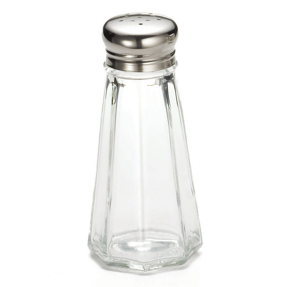 Tablecraft C156-12 Salt / Pepper Shaker, 3 oz, Glass, SS Top