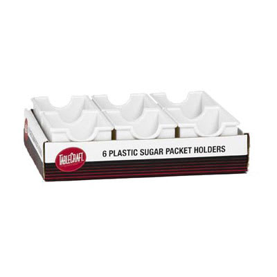 "Tablecraft C56W Sugar Packet Holder - 3.25"" x 2.5"" x 2"", Plastic, White"