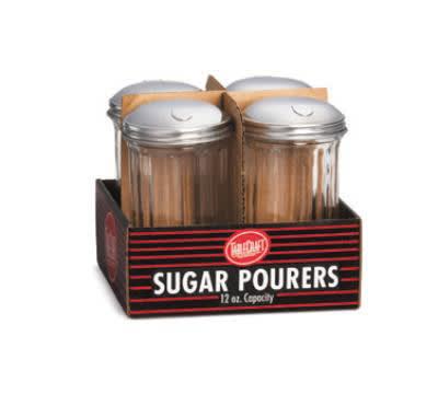 Tablecraft C57S-4 Sugar Pourer, 12 oz, Fluted Glass, SS Top