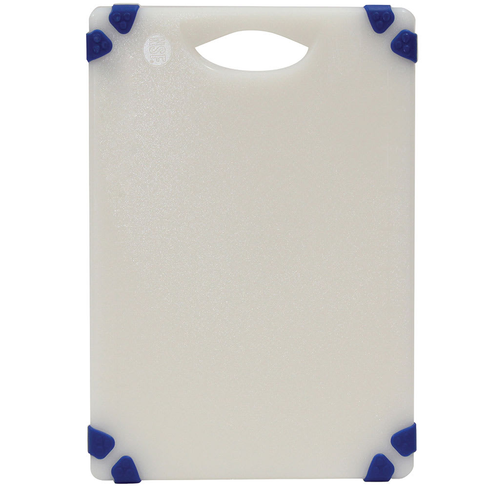 "Tablecraft CBGW610ABL Cutting Board - 6"" x 10"", Polyethylene, White w/ Blue Grips"