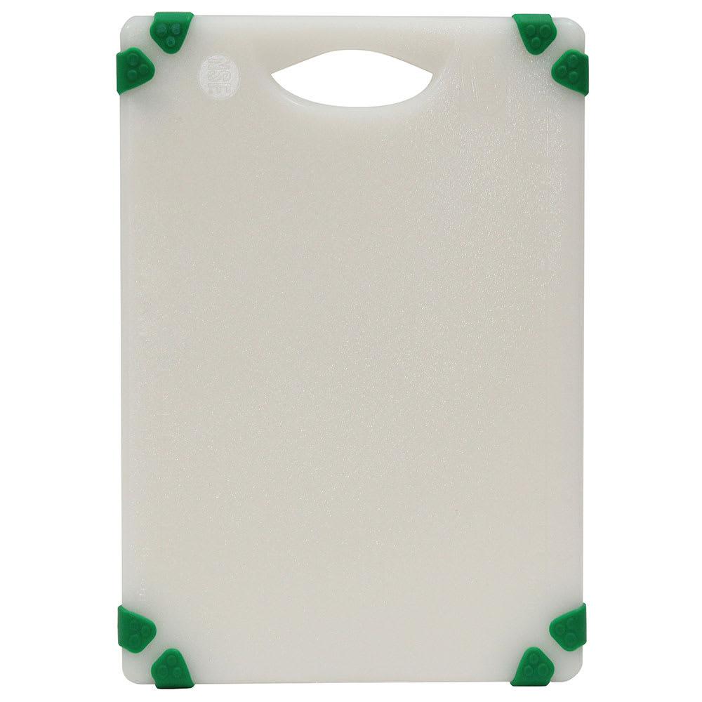 """Tablecraft CBGW610AGN Cutting Board - 6"""" x 10"""", Polyethylene, White w/ Green Grips"""