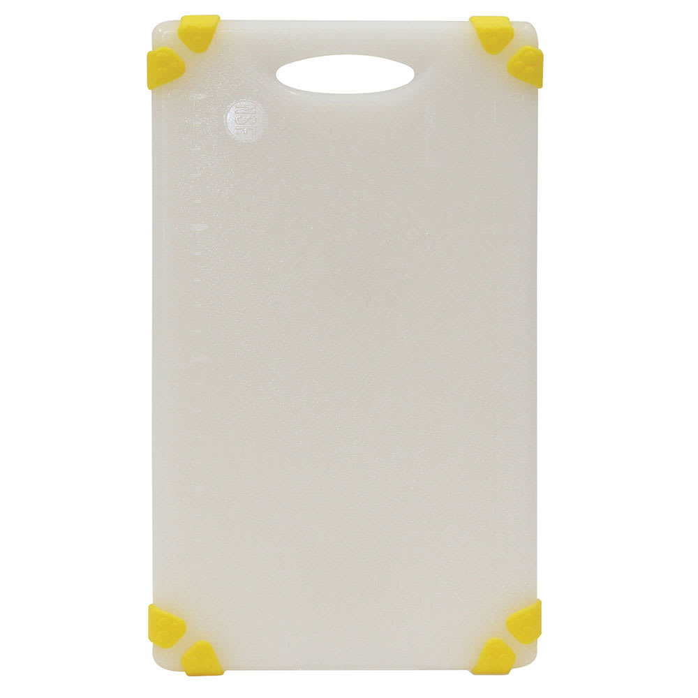 """Tablecraft CBGW610AYL Cutting Board - 6"""" x 10"""", Polyethylene, White w/ Yellow Grips"""