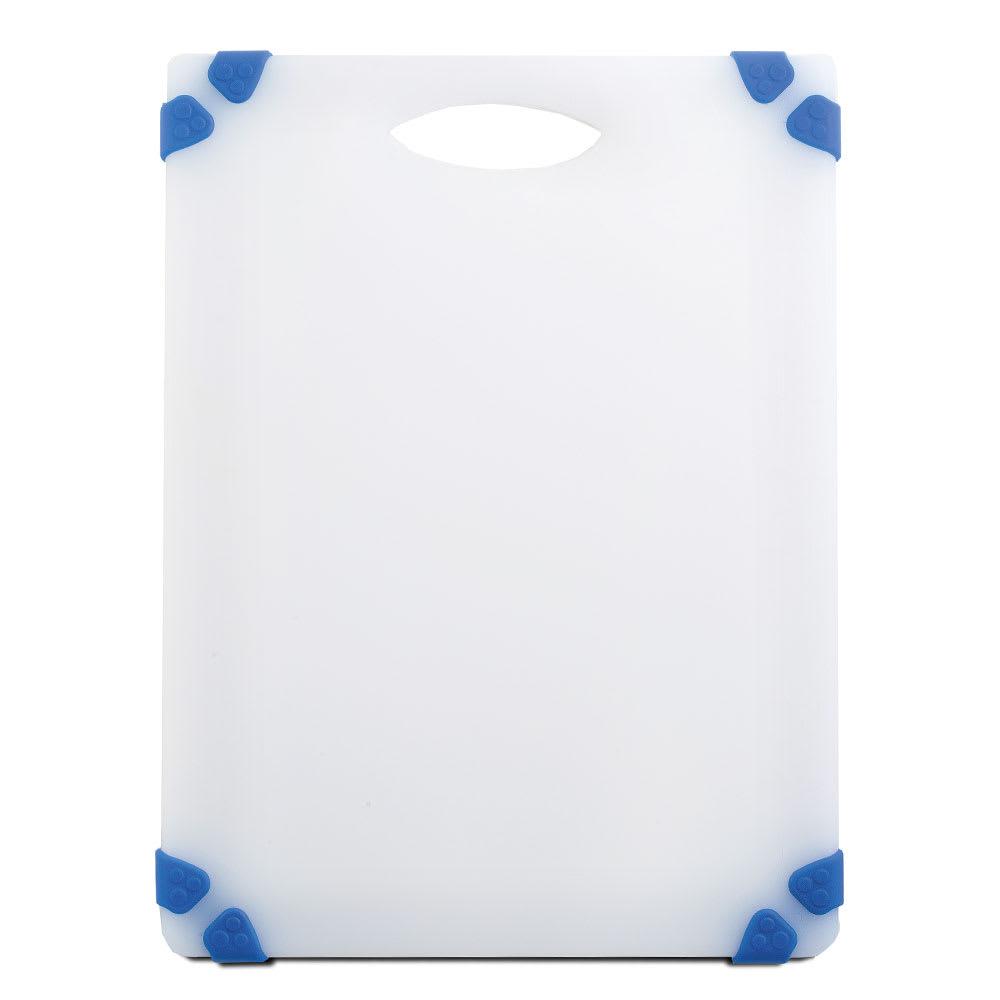 """Tablecraft CBGW912ABL Cutting Board - 9"""" x 12"""", Polyethylene, White w/ Blue Grips"""