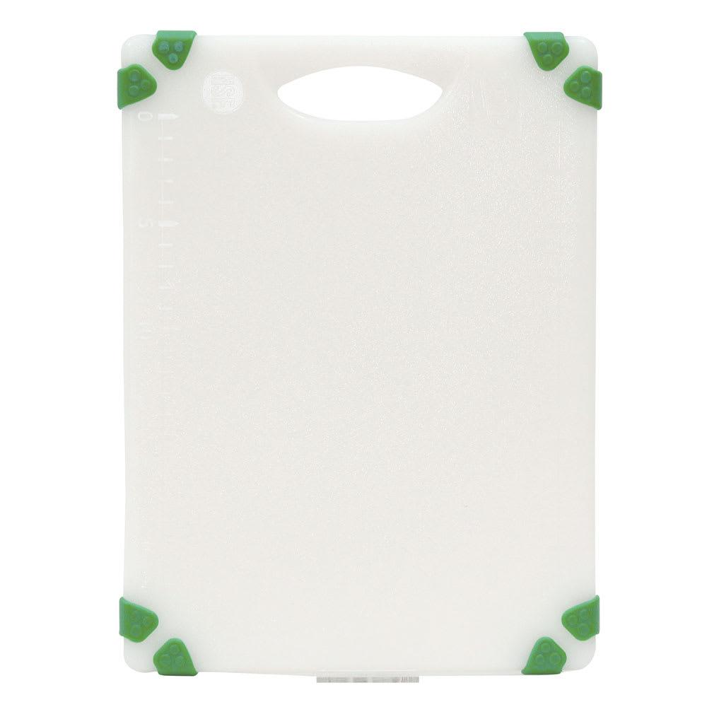 """Tablecraft CBGW912AGN Cutting Board - 9"""" x 12"""", Polyethylene, White w/ Green Grips"""