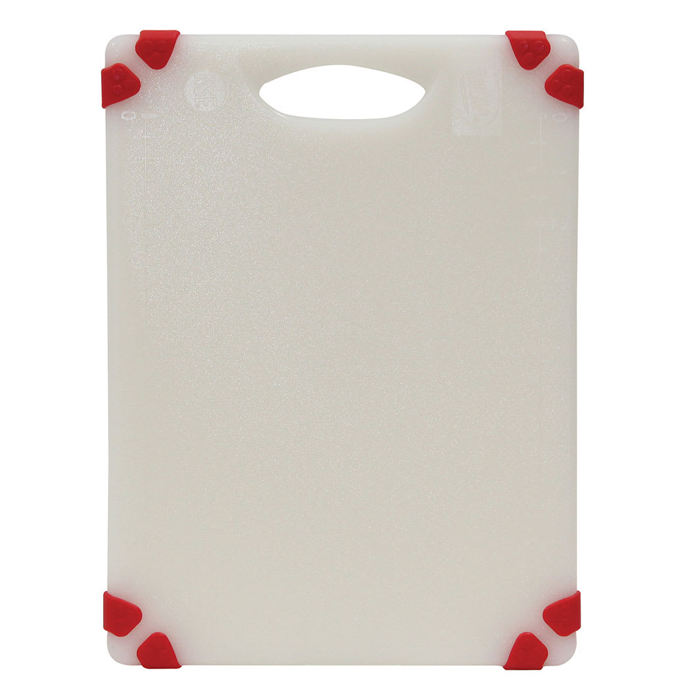"Tablecraft CBGW912ARD Cutting Board - 9"" x 12"", Polyethylene, White w/ Red Grips"