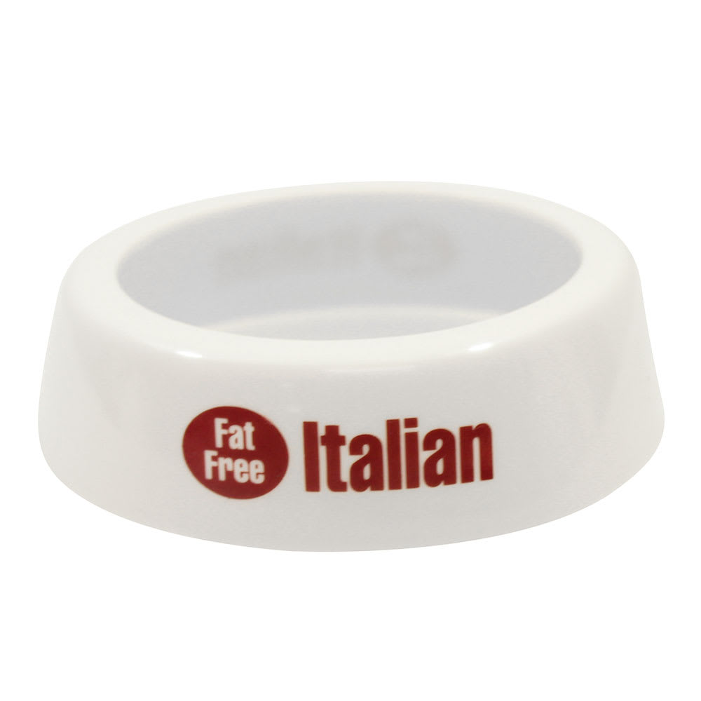 Tablecraft CM16 White Plastic Dispenser Collar w/ Maroon Print, Fat Free Italian