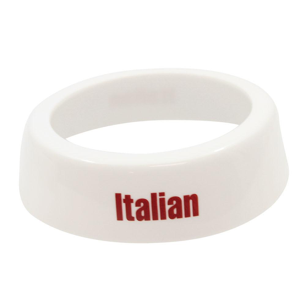 Tablecraft CM4 White Plastic Dispenser ID Collar w/ Maroon Print, Italian