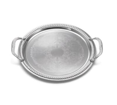 Tablecraft Ct13h Round Serving Tray W Handles Embossed Pattern 13 In Dia Chrome Plated