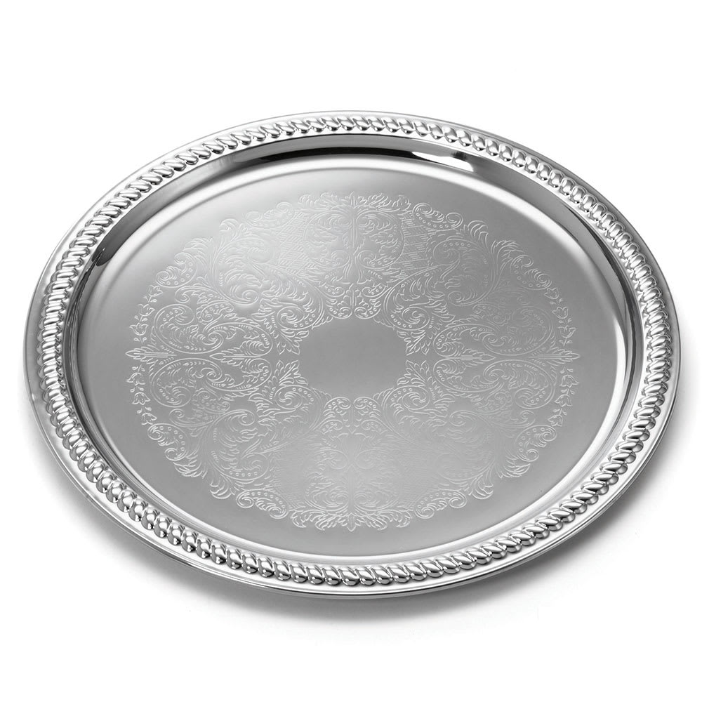 "Tablecraft CT14 Round Serving Tray, Embossed Pattern, 14"" Dia, Chrome Plated"