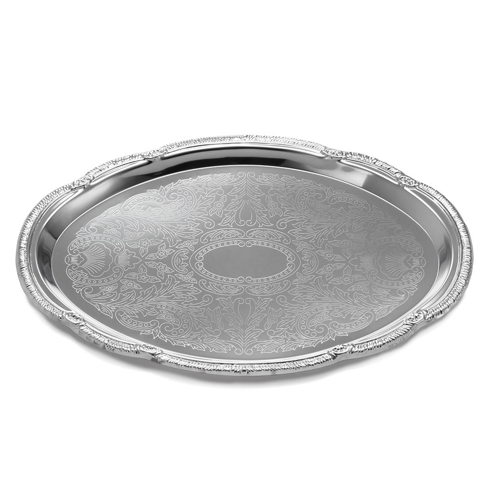 Tablecraft CT1510 Oval Serving Tray, Embossed Pattern, 15 x 10.5 in, Chrome Plated