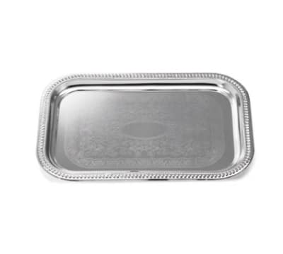 Tablecraft CT1812 Rectangular Serving Tray, Embossed Pattern, 18.25 x 12.5 in, Chrome Plated