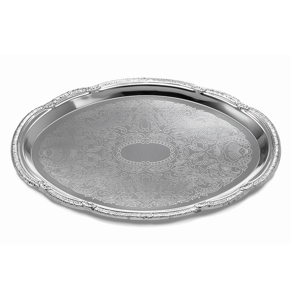 Tablecraft CT1813 Oval Serving Tray, Embossed Pattern, 18 x 13 in, Chrome Plated