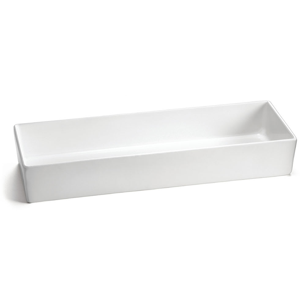 "Tablecraft CW4006W Rectangular Bowl w/ 184 oz Capacity, 19.5"" x 6.875"" x 3"", White"