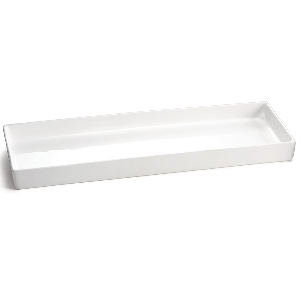 "Tablecraft CW4016W Rectangular Bowl w/ 2.75-qt Capacity, 19.5"" x 6.875"" x 1.5"", White"