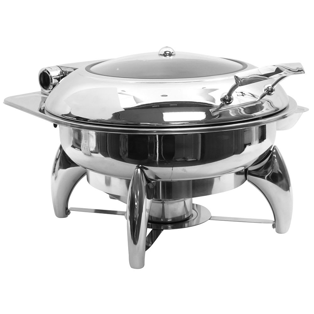 Tablecraft CW40177 Round Chafer w/ Hinged Lid & Chafing Fuel Heat