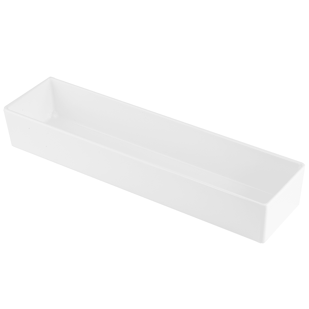 "Tablecraft CW4018W Rectangular Bowl w/ 112 oz Capacity, 19"" x 4.75"" x 3"", White"