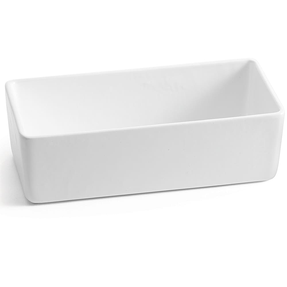 "Tablecraft CW4026W Rectangular Bowl w/ 64 oz Capacity, 10"" x 5"" x 3"", White"