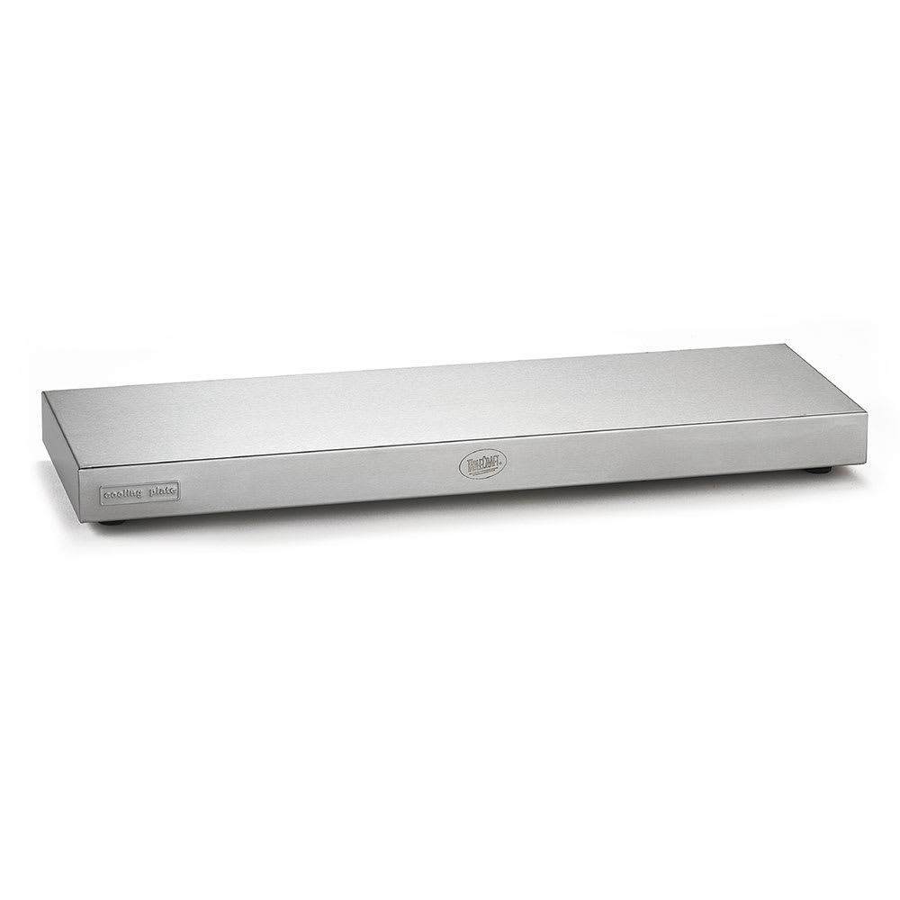 "Tablecraft CW60103 Half-Long Size Rectangular Cooling Plate, 21"" x 6.375"" x 1.5"", Stainless"