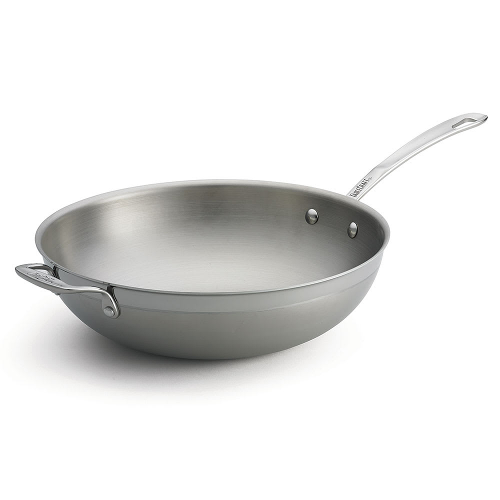 """Tablecraft CW7014 11.75"""" Stainless/Aluminum Stir Fry Pan - Induction Ready & Oven Safe"""