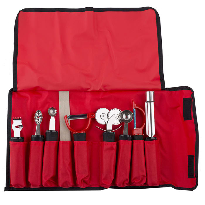 Tablecraft E56009 9-Piece Garnishing Tool Set w/ Nylon Case