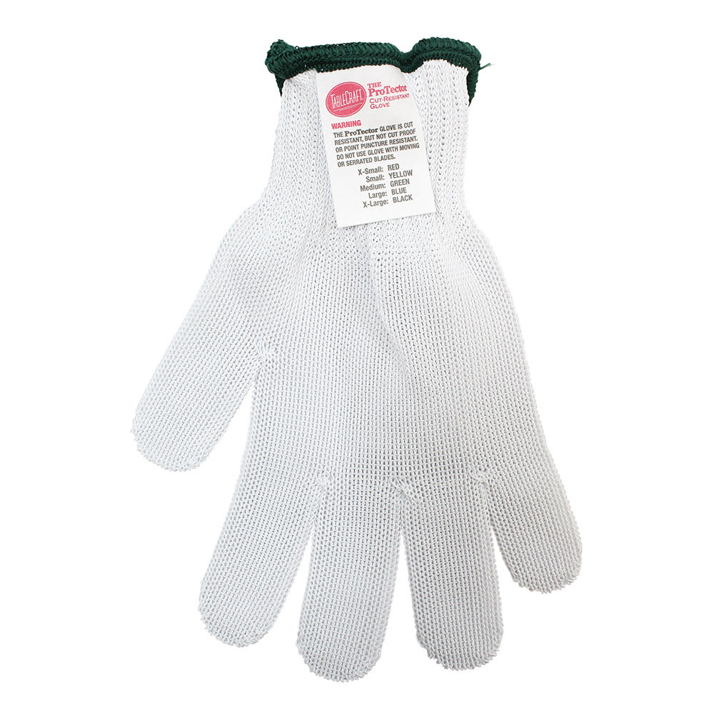 Tablecraft GLOVE3 The ProTector Cut Resistant Glove, Medium, Green Cuff